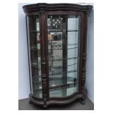 Mahogany Curio Cabinet w/Serpentine Glass Front
