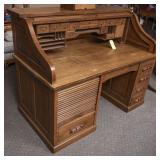 Oak Double Roll-Top Desk