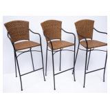 3 Woven Wicker Bar Chairs w/Metal Legs