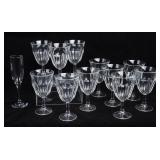Lot with 11 Stemmed Water Glasses & More