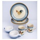 4 Gibson Rooster Plates, 2 Mugs & More