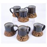 6 Synanon Ceramics Pottery Mugs