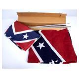 Confederate & Georgia Flags w/Pole