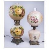 2 Beautiful Floral Vintage Parlor Lamps