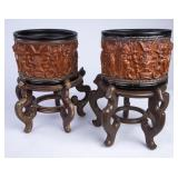 2 Oriental Style Embossed Planters on Stands