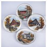 4 Ray Day Ceramic Barns Plates w/COA