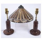 2 Matching Table Lamps + Glass Lampshade