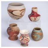 5 Nemadji Pottery Pieces
