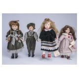 4 Porcelain Dolls w/Stands