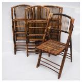 4 Bamboo Folding Chairs