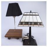 2 Table Lamps, Including 1 w/Stained Glass Shade