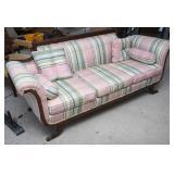 Antique Upholstered Setee w/Brass Feet