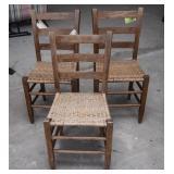 3 Ladderback Wood Chairs w/Woven Seats