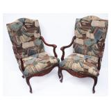 2 Nice Upholstered Library Arm Chairs