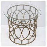 Round Gold Metal Glass-Top Side Table
