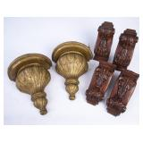 Lot with 4 Corbels & 2 Gold Wall Sconces