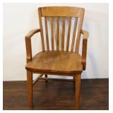 """Oak Arts And Crafts Style Captains Chair, 35""""t"""