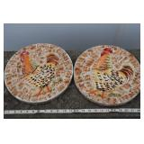 """Two Rooster Stepping Tiles, Resin Based, 11"""" Dia."""