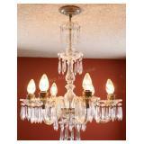 "Vtg Hanging Crystal Glass Chandeleir, 22""w X 30""t"
