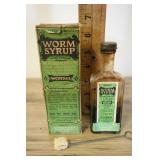 Vtg Hiway Worm Syrup Bottle And Box.