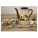 Torquay Watcombe Pottery Motto Ware Pitchers, Dish