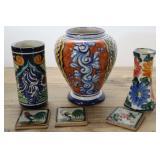 Blue, Gold, Yellow Pottery Vases & Miniature Tiles