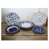 Vtg Blue & White Plates & Bowls, Flow Blue