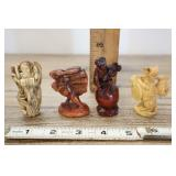 Vtg Chinese Angel Netsuke, And Rabbit, Monkey, And