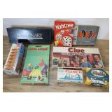Assorted Games, Clue, Pictionary, Flinch.