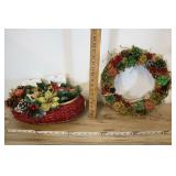 Red Basket With Plastic Decor And Wreath.
