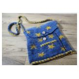 Hand Knitted Sachel Bag, Blue With Stars