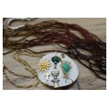 Collage Pendant And Beaded Necklace Earring Set