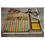 Pair Woven Shoulder Bags, Peach And Yellow