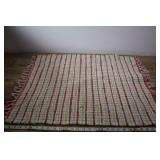 Vintage Rolled Style Rag Rug, Red Green & White
