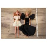 Pair Ballgown Barbies, 1966 Gold Dress 1987 Black