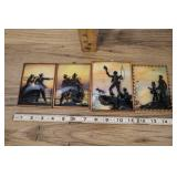 Set Of 4 Vintage Silhouette Pictures In Convex Bub