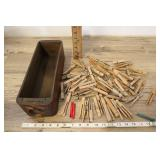 Antique Sewing Machine Drawer And Clothes Pins