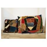 Pair Of Vintage Bohemian Patchwork Throw Pillows