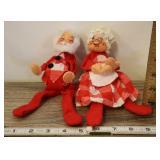 1971 Annalee Mobilitee Dolls, Santa And Mrs. Claus