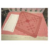 """Red And White Table Covers, Largest Is 72"""""""