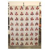 "White Quilt, Red Star Pattern, 65x85"""