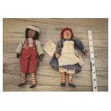 Raggedy Ann And Andy Dolls, Wood Faces, Ceramic