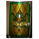 """Early Stained Glass Window, 21x36"""", Cracks Noted."""