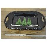 "Snow Productions Christmas Tree Platter 10"""