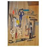 Assorted Tools - Roofing Hammer, Tin Snips, Clamps