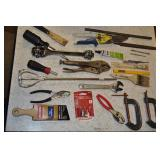 Assorted Tools - Clamps, Tin Snips Vise Grips Misc