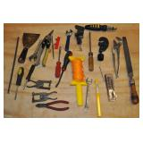 Assorted Tools - Clamps, Tin Snips, File, Misc