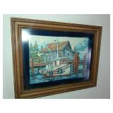 Acrylic Painting Of Sailboat By Dock With