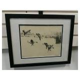 Wildlife Scene Artist Etching Of Landing Pintails