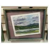 Framed Watercolor On Paper Samish Tide Flats,